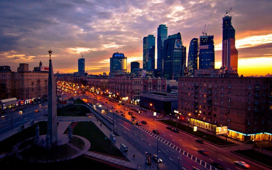 City Cloud Light Moscow Night Street Wallpaper 2560x1600