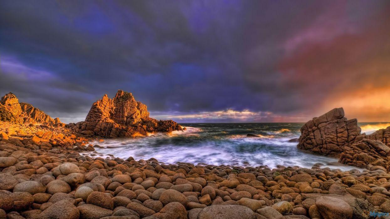 nature beach evening ocean coast wallpaper