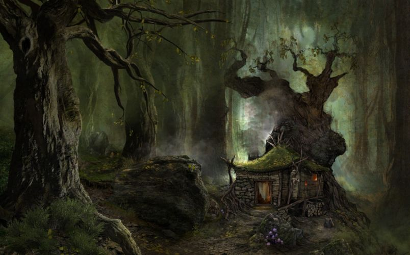 3d art black forest green house wallpaper