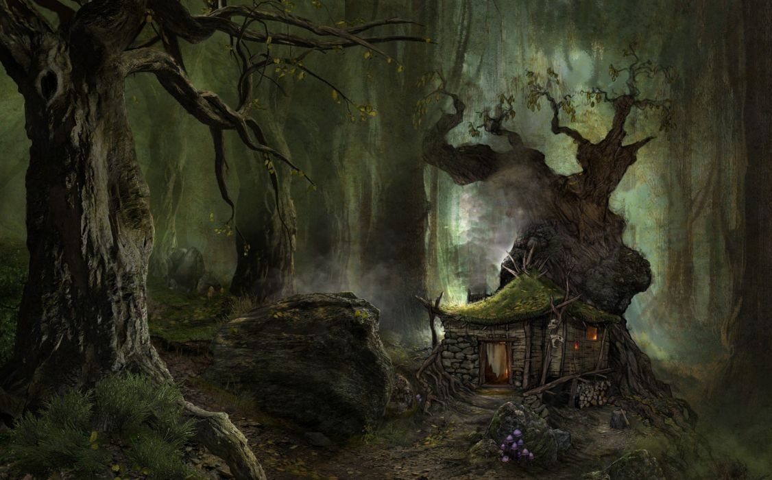 3d art black forest green house wallpaper
