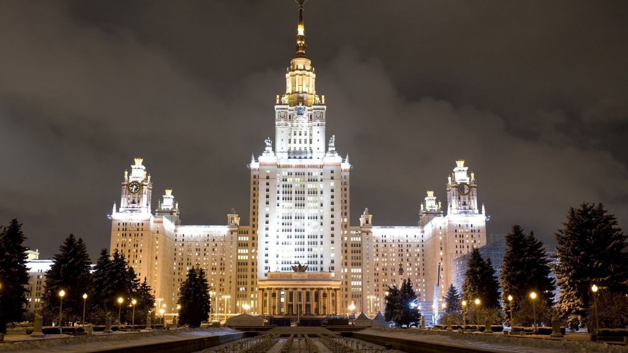 city evening moscow state university sky wallpaper
