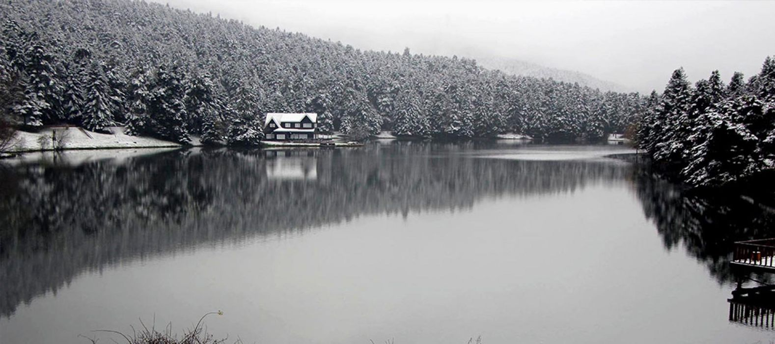 landscape golcuk bolu turkey beauty lake nature tree forest winter wallpaper