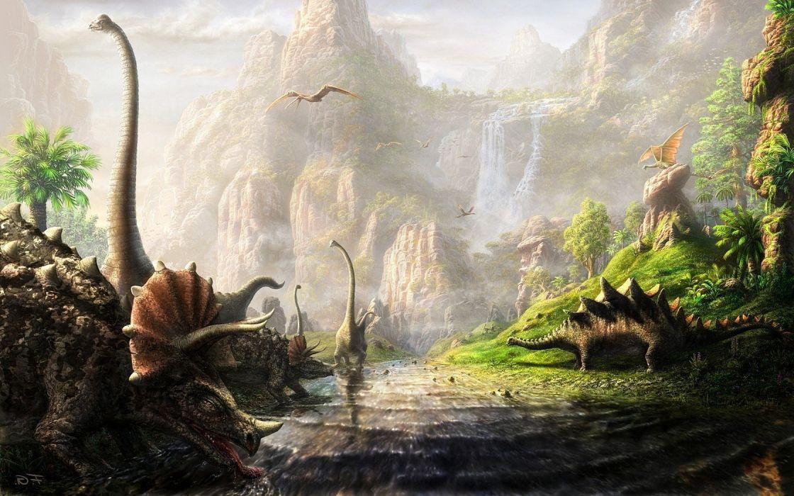 cliff Dinosaurs fantasy Art river Triceratops wallpaper