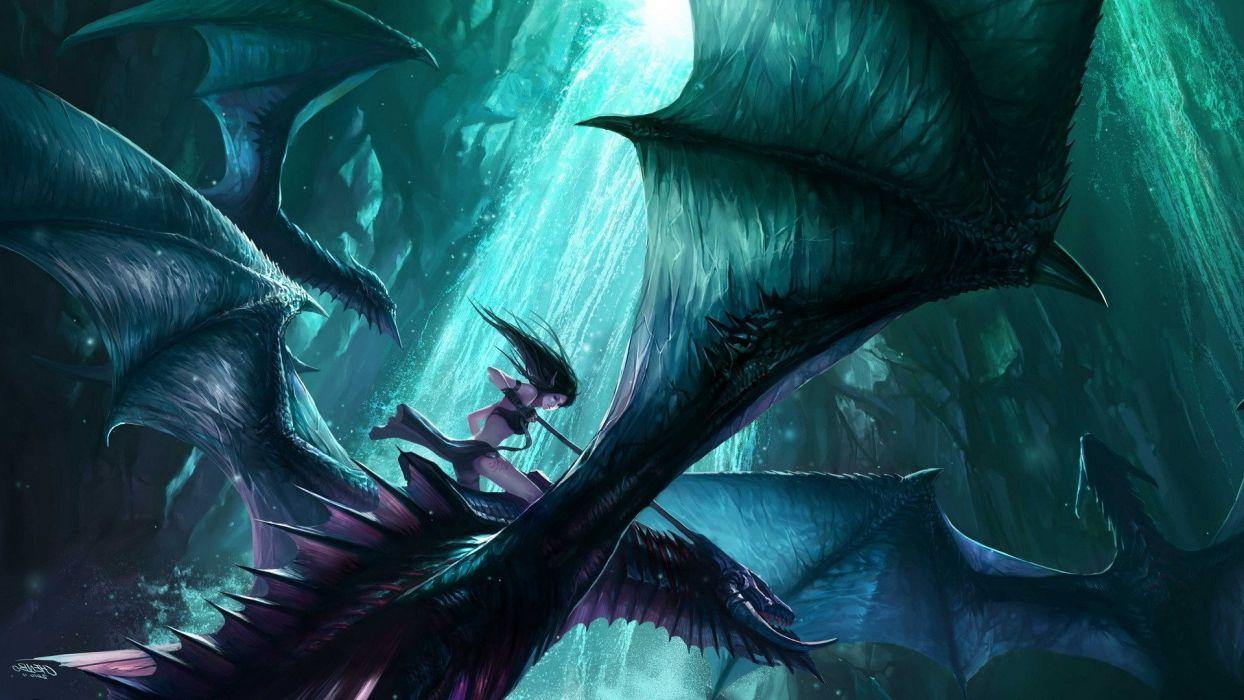 Chenbo dragon elves fantasy Art wallpaper