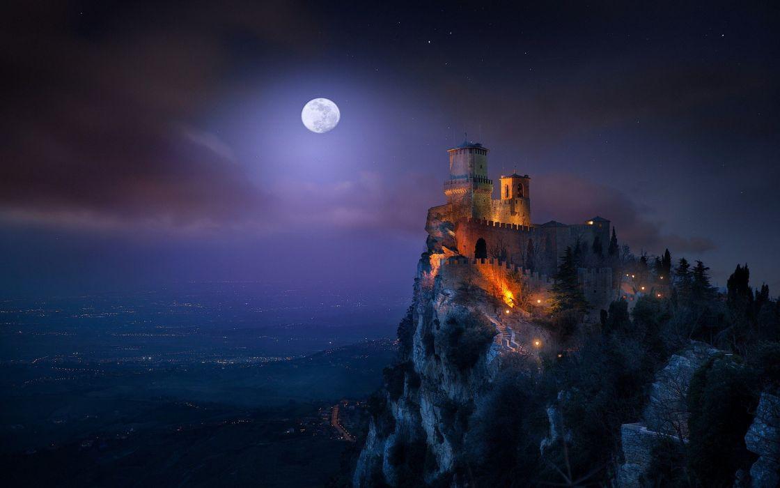 castle Cityscape landscape Lights Moon moonlight nature San Marino Starry Night wallpaper