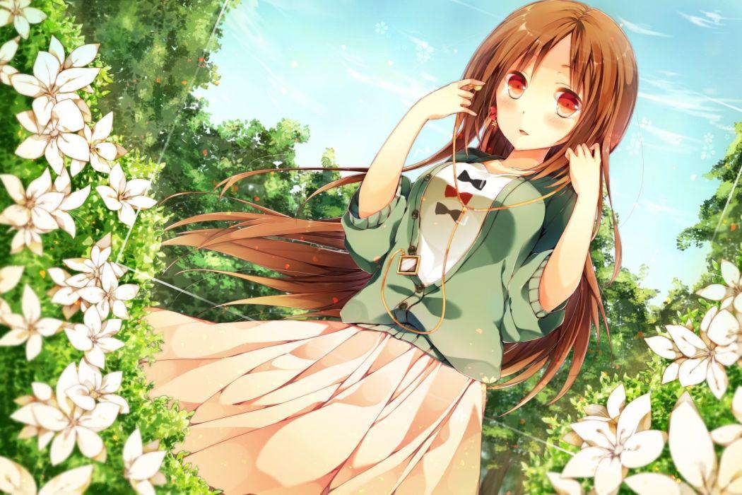 Anime Girls brunette flowers Original Characters wallpaper