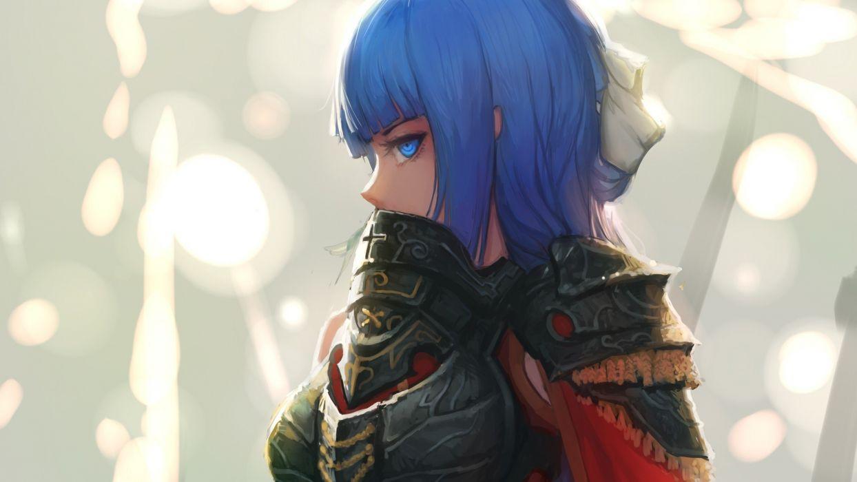 anime armor blue eyes Blue Hair women wallpaper