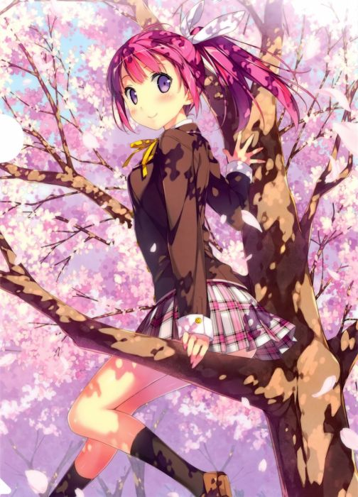 School Uniform Trees girl wallpaper