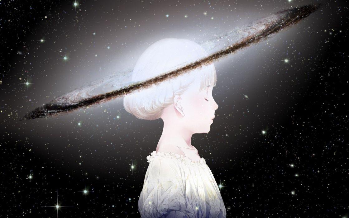 space stars universe White Hair anime fantasy wallpaper