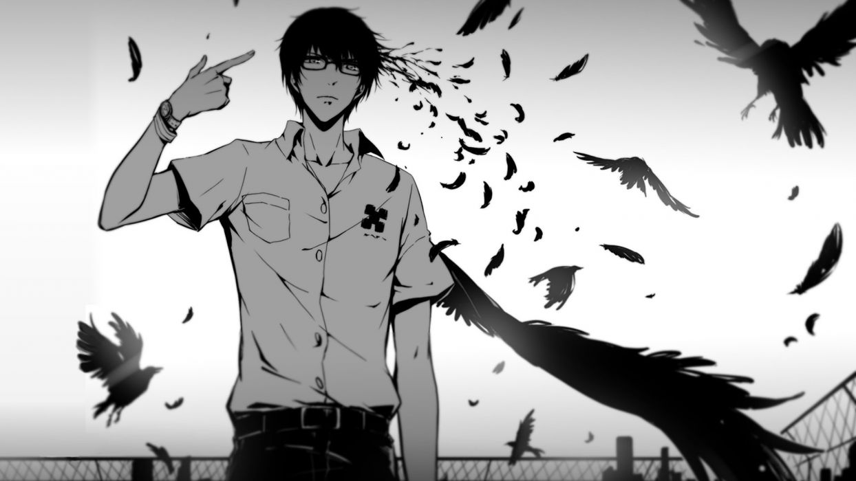 anime Crow Glasses Kokonoe Arata monochrome Zankyou No Terror wallpaper