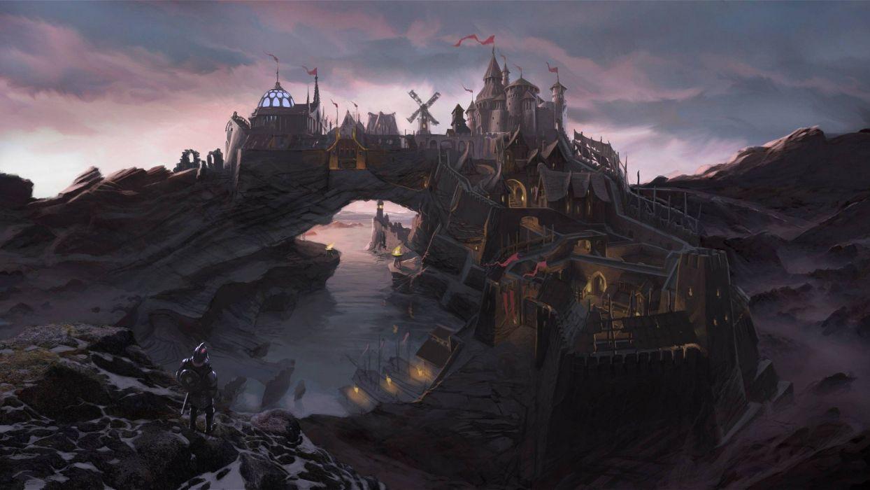 city fantasy Art The Elder Scrolls V Skyrim video games wallpaper