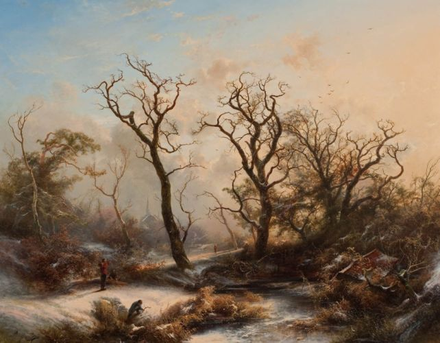 painting river Trees winter wallpaper
