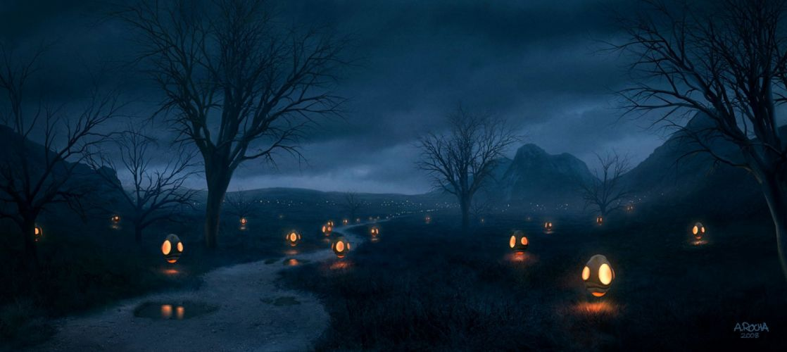 original fantasy lanterns 3ds hills mountains matte painting night clouds rain lantern dance wallpaper