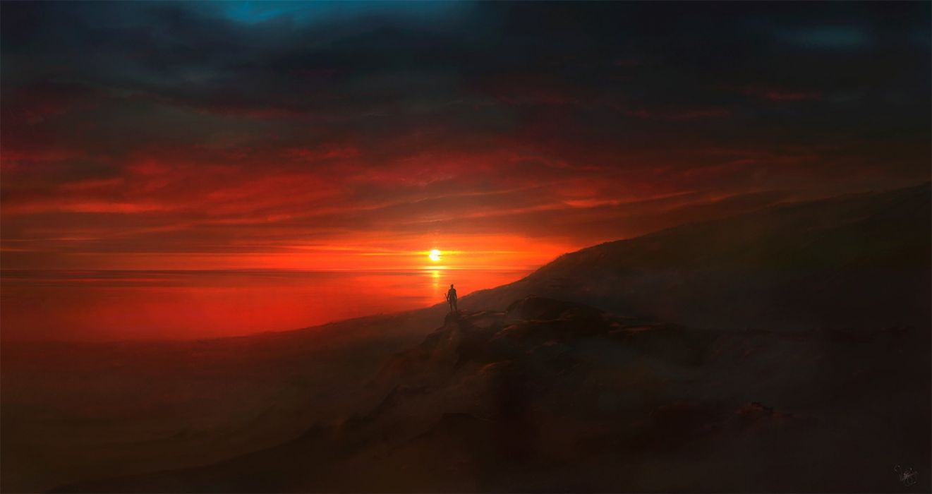 original fantasy landscape sunset red man wallpaper
