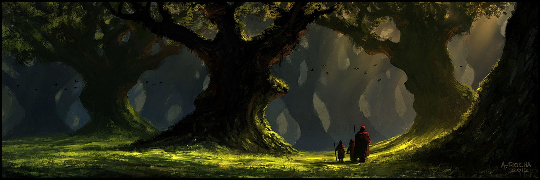 original fantasy landscape forest green wallpaper