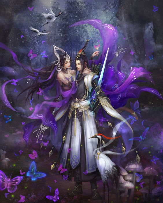original game fantasy girl male couple flower beautiful dress love sword wallpaper