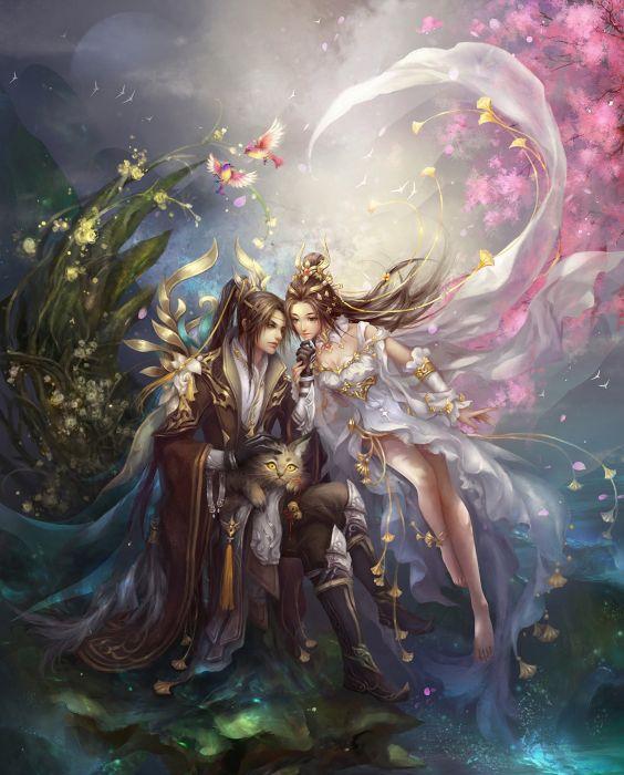 original game fantasy girl male couple flower beautiful dress love wallpaper