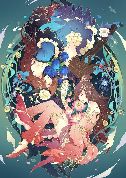 original girls dress beautiful flower anime wallpaper