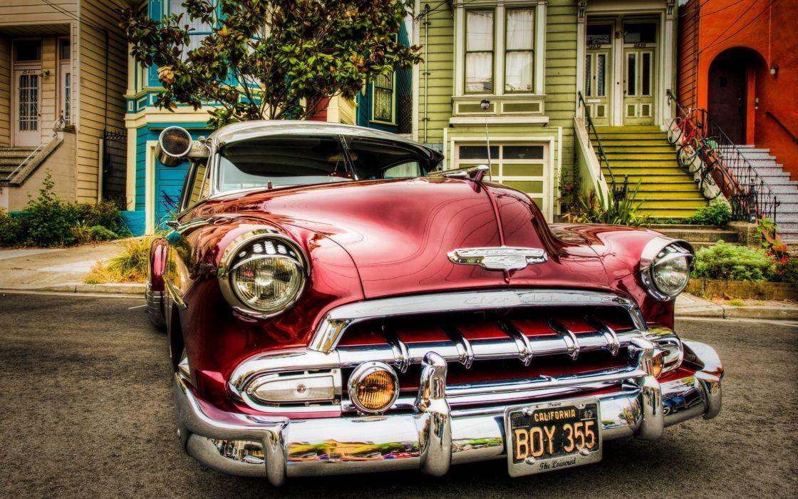 chevrolert rojo coche clasico americano wallpaper