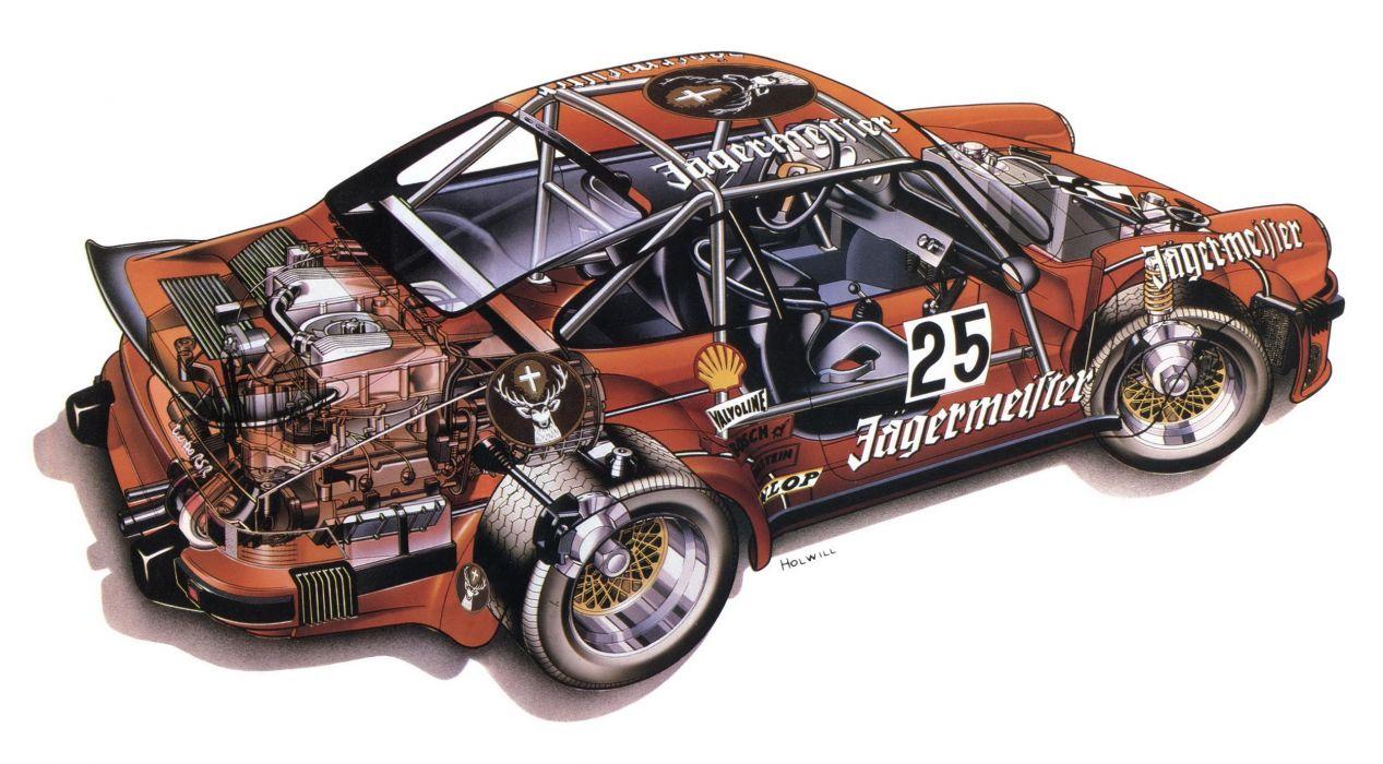 Porsche 934 Turbo RSR cars cutaway 1976 wallpaper