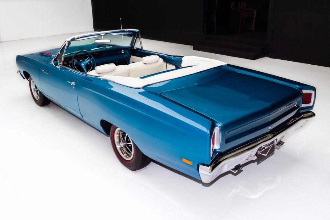 1969 plymouth roadrunner blue convertible 383 cars wallpaper