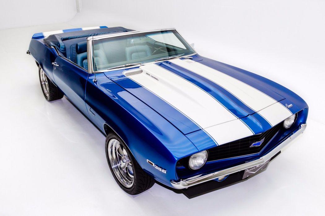 1969 chevrolet camaro 396 cars convertible blue wallpaper