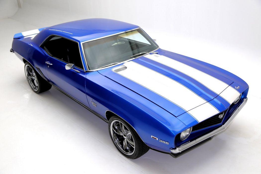 1969 chevrolet camaro 396 (ss) blue wallpaper
