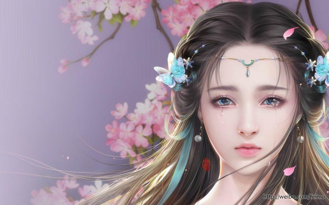original girl fantasy beautiful long hair  wallpaper