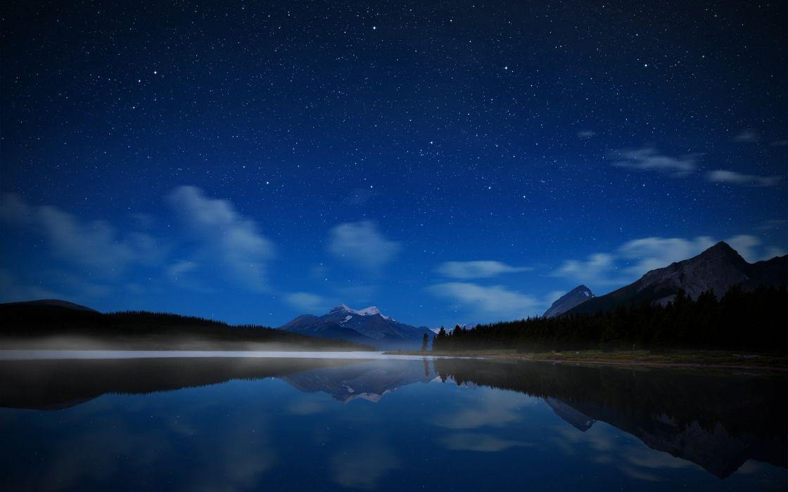landscape night sky stars wallpaper
