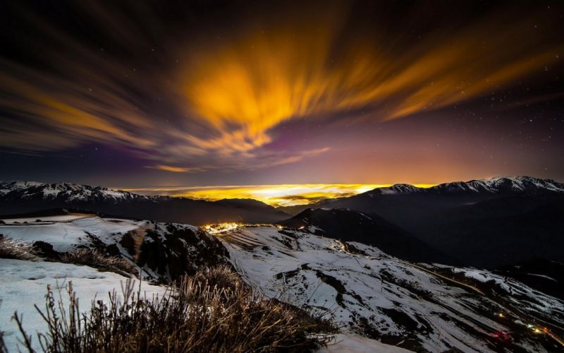 Chile city clouds Evening landscape Lights Long Exposure mountain nature night snow stars w wallpaper