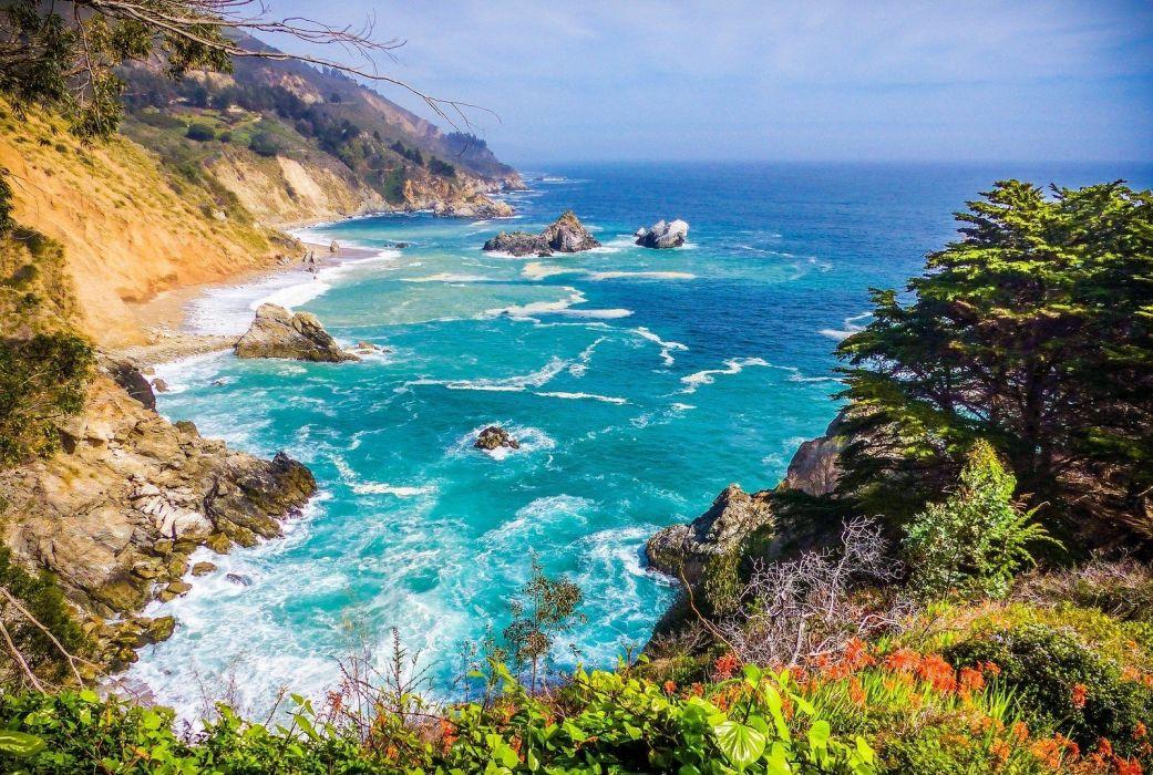 beach california cliff Coast Hills landscape nature photography rocks sea Shrubs sunlight Tr wallpaper