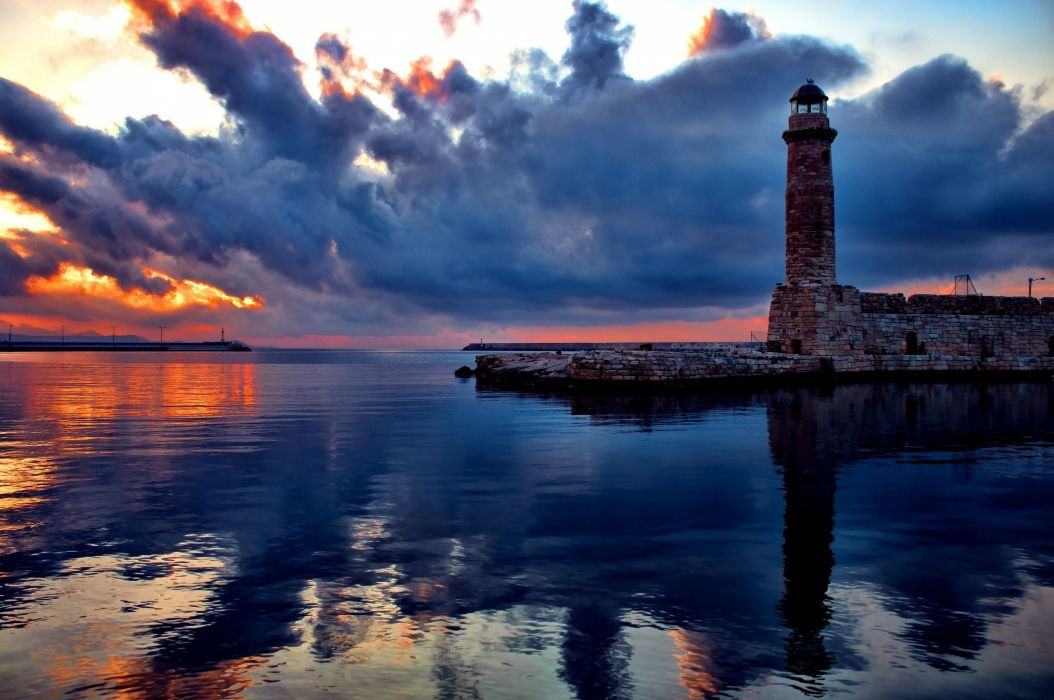 Harbor landscape Lighthouse photography sea water wallpaper