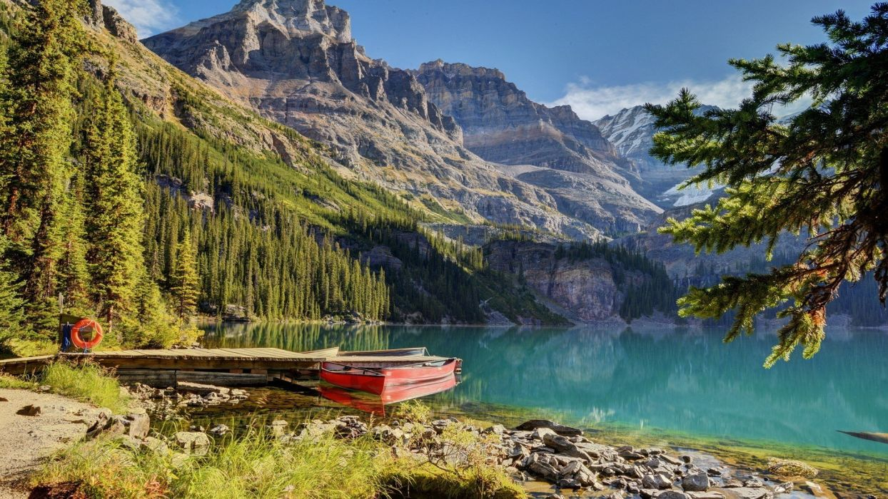 boat lake landscape mountains Trees water wallpaper