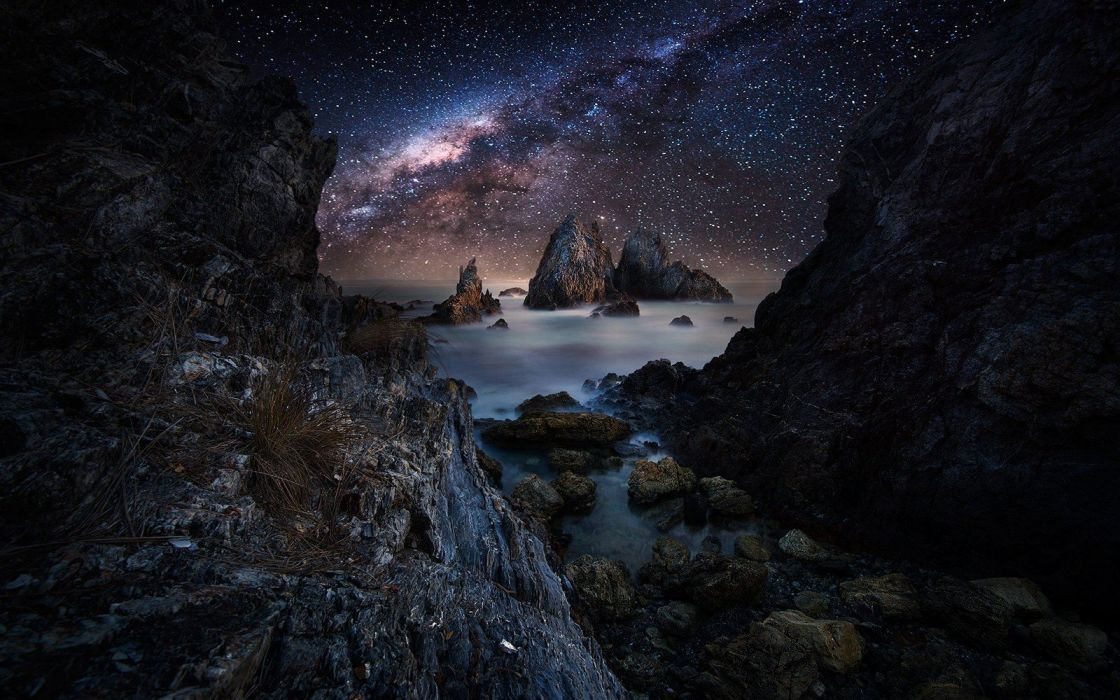 Coast landscape Long Exposure Milky way nature rock sea sky Starry Night tunnel water wallpaper