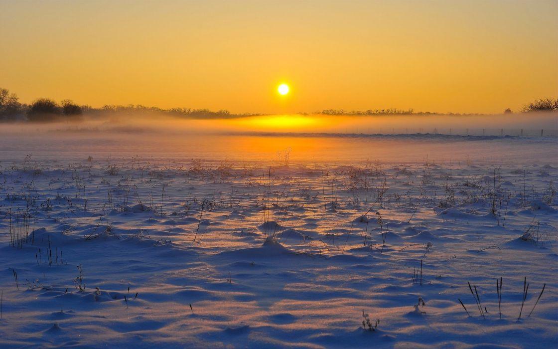 landscape mist snow sun wallpaper