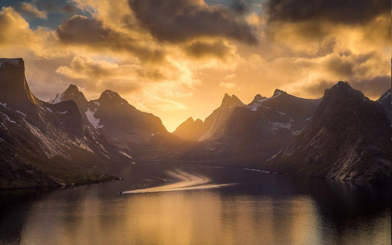 clouds Fjord island landscape mountain nature Norway sea sky Snowy Peak sunset wallpaper