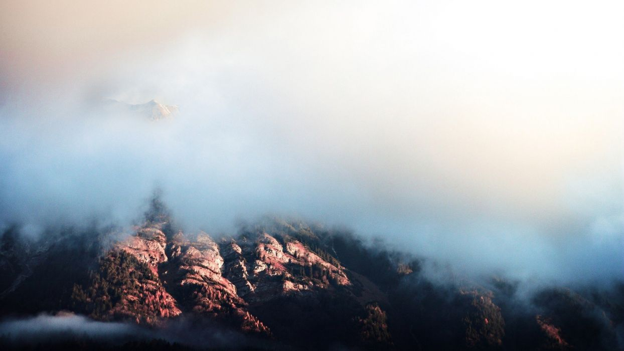 clouds landscape mountain wallpaper