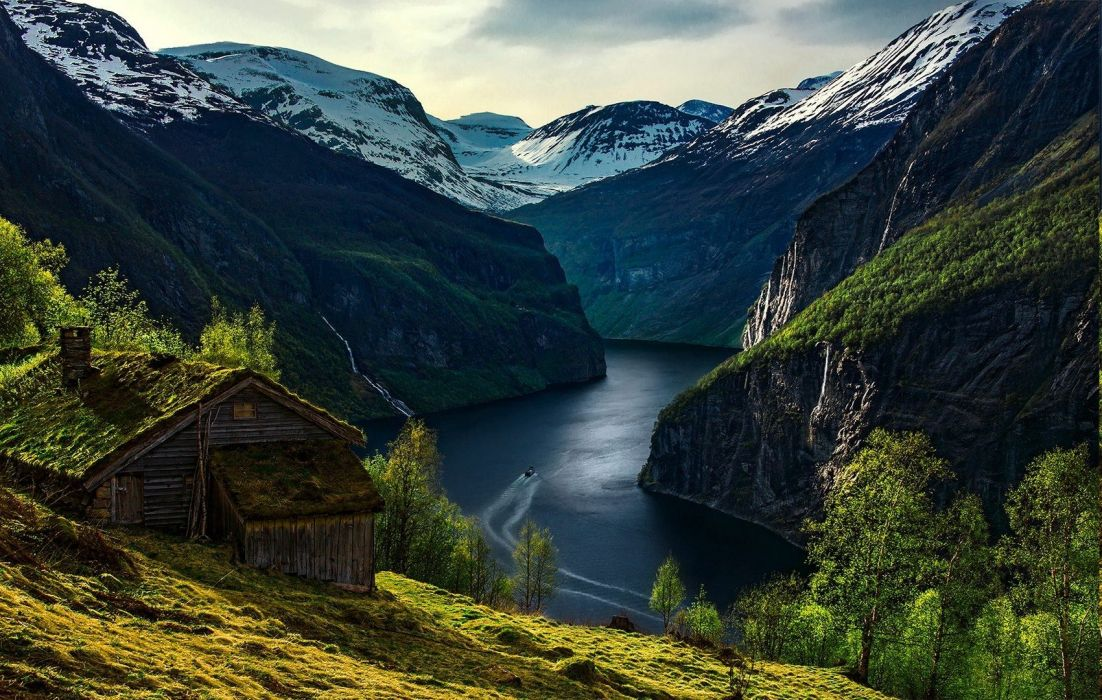 boat Cabin Fjord Geiranger grass landscape Morning mountain nature Norway Snowy Peak wallpaper