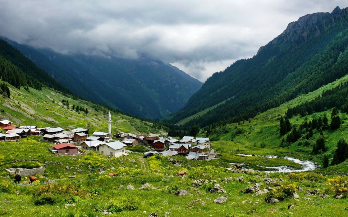 Elevit landscape nature Rize turkey Villages wallpaper