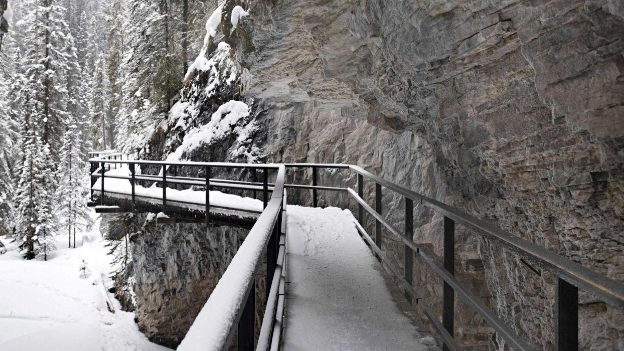 bridge Canada Canyon Johnson Canyon landscape mountain nature rock snow winter wallpaper