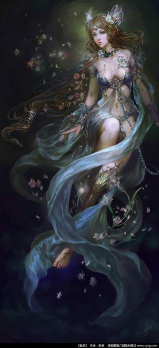 Night Ai Luda original art fantasy woman flower beautiful wallpaper