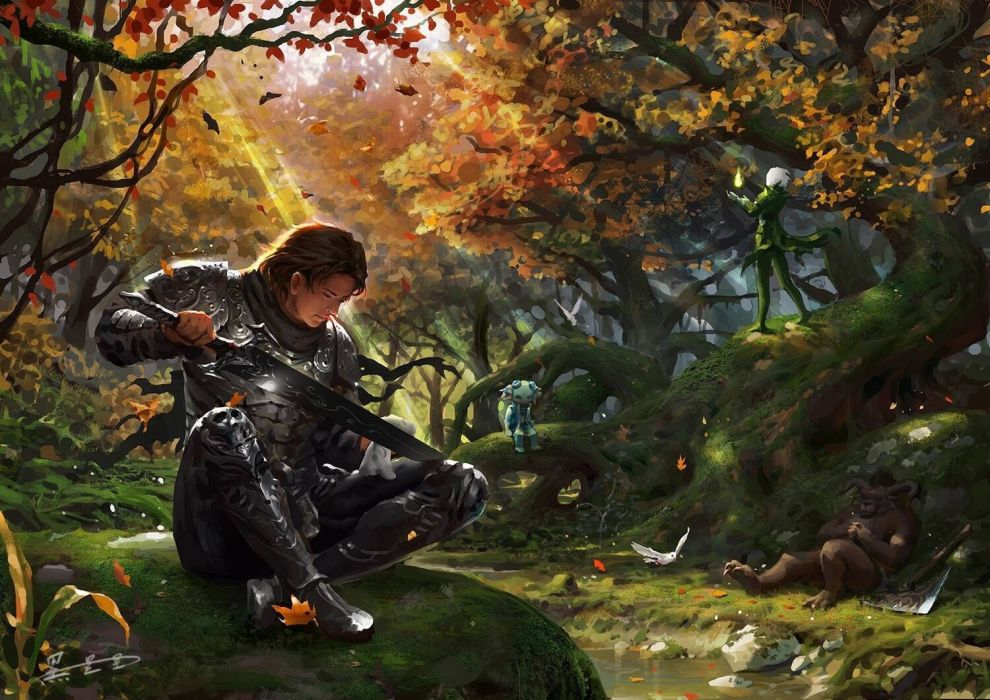 Black stars original fantasy art beauty forest male warrior sword wallpaper
