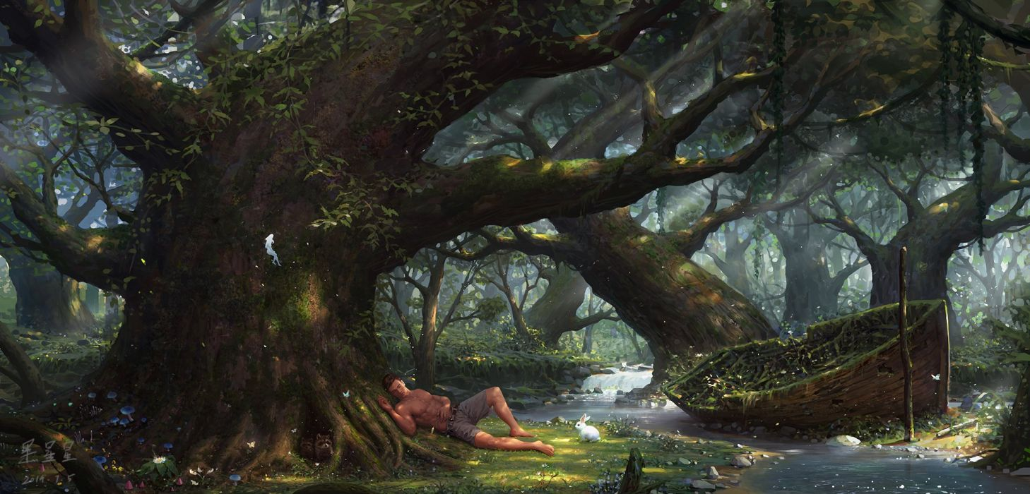Black stars original fantasy art beauty forest male wallpaper