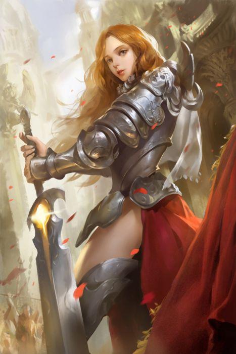 Gentle knife cgartt original fantasy woman warrior sword blonde wallpaper