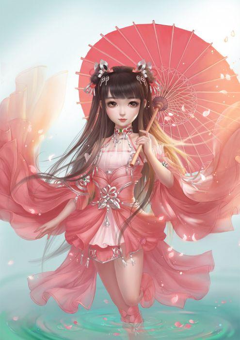 Whitenight cgartt original fantasy art beauty girl pink dress wallpaper