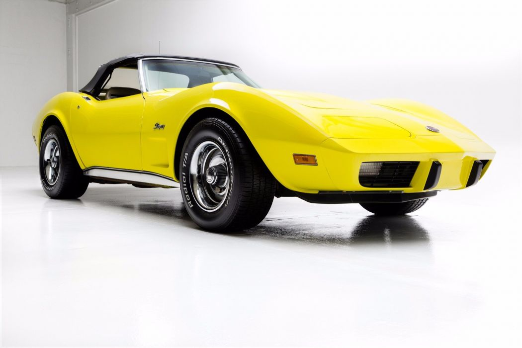 1975 chevrolet corvette roadster cars yellow wallpaper