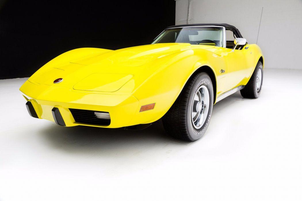 1975 chevrolet corvette roadster cars yellow wallpaper