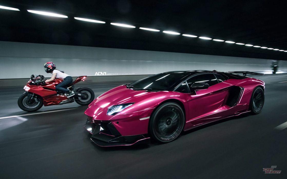 Purple Lamborghini Aventador motorcycles adv1 cars  wallpaper