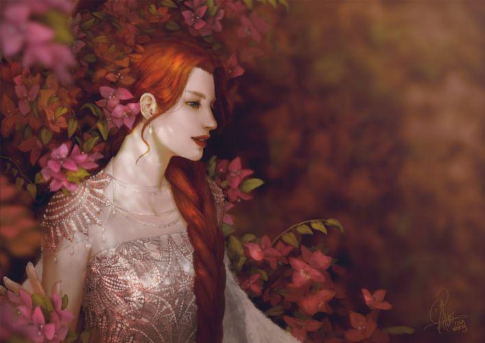 artstation inawong beautiful fantasy original beautiful red long hair flower wallpaper