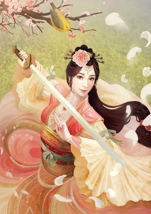 fantasy original beautiful sword dress petals purity princess artstation inawong wallpaper